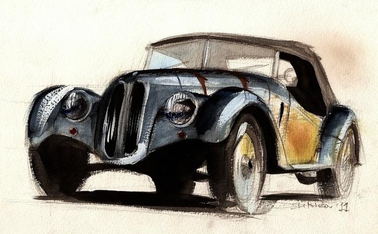 BMW 328 - watercolor, automotive - petrolhead1992   ello