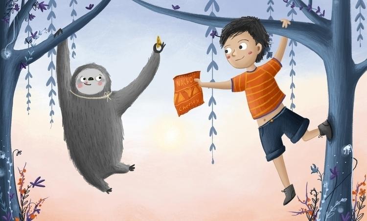 friend sloth - trees, boy, nachos - illustratelucy | ello