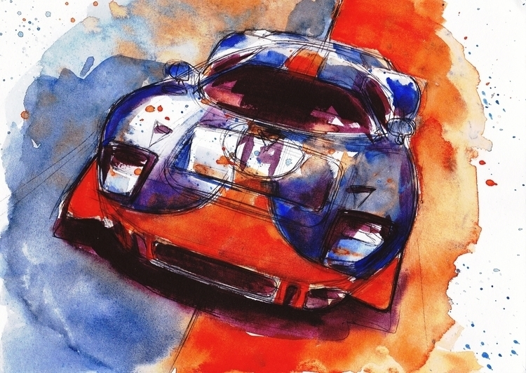 Gt40 - watercolor, speedpaint, automotive - petrolhead1992 | ello