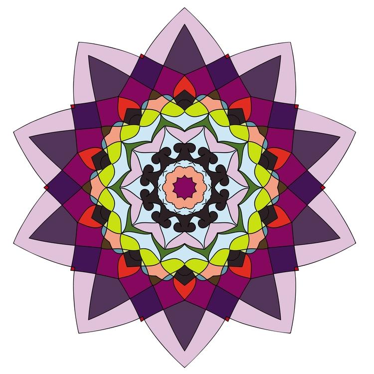 Bright kaleidoscope flower - mandala - gretaberlin | ello