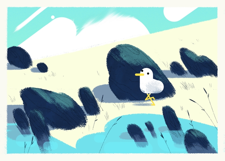 beach gul - sea, animation, postcard - leytonparker | ello