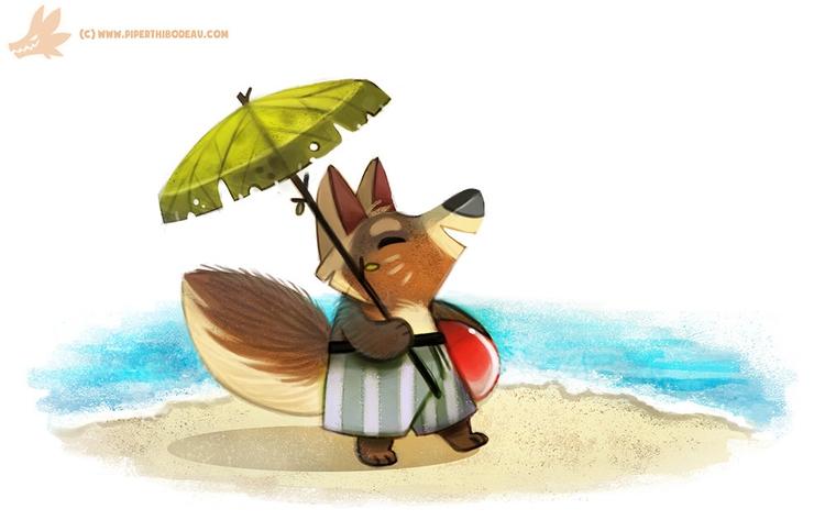 Daily Paint Arctic Fox - Summer - piperthibodeau | ello