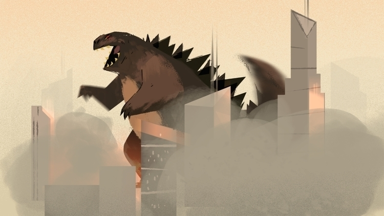 godzilla destroying townsville - leytonparker | ello