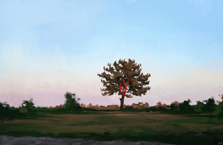 sun - illustration, painting, landscape - ziiart | ello
