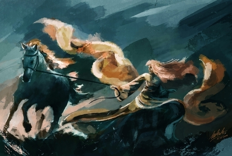 Wind Change - painting, girl, horse - maianhtran | ello