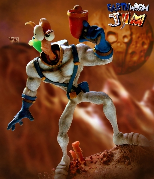 EarthWorm Jim Sculpt. add cow b - hasaniwalker | ello