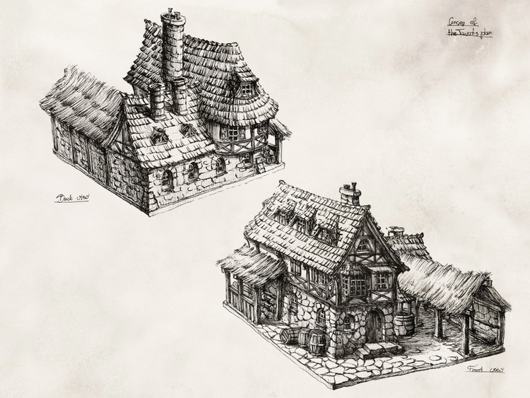TAVERN (tabletop miniatures - illustration - grimdream | ello