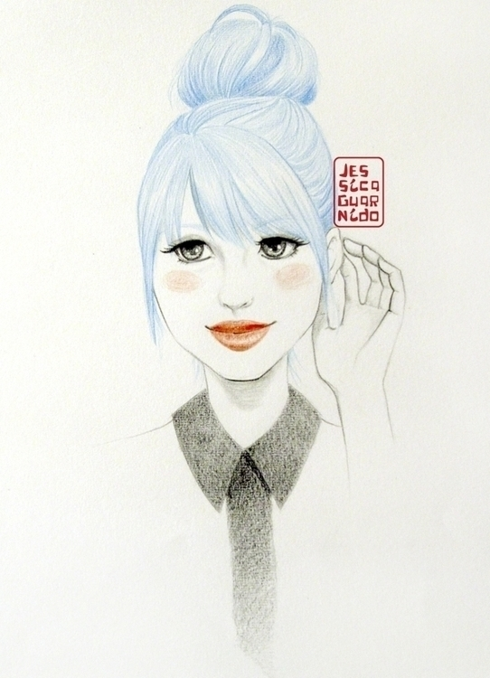 Blue Haired Cute Bun Girl - cutegirl - jessicaguarnido | ello