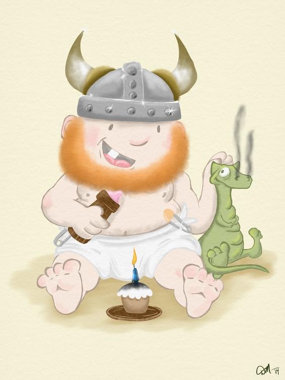 Viking birthday boy pet dragon - dmerchen | ello