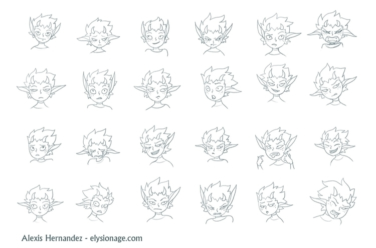 Expression sheet Rin, main char - allytha | ello
