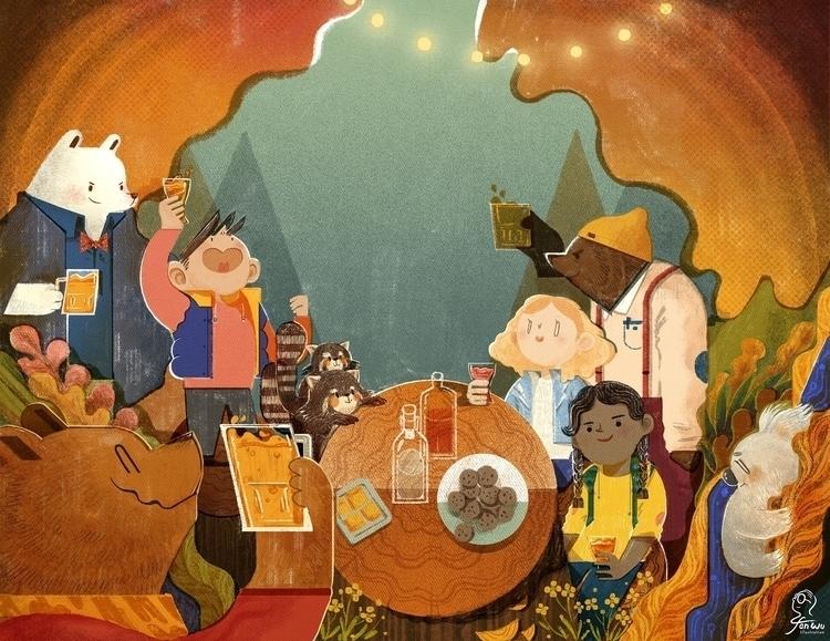 Bears Party - illustration, animals - fanwu | ello