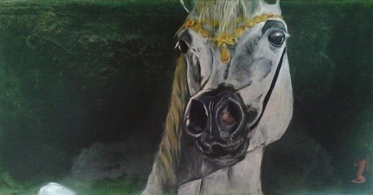 painting, horse, colors, beauty - conniemullerarte | ello
