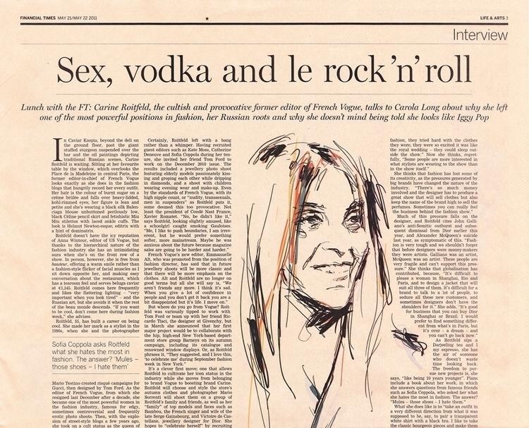 Carine Roitfeld Financial Times - sebj-4787 | ello