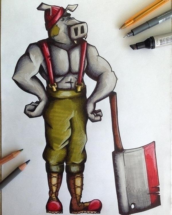 'Hippo Lumberjack.' Pro markers - mp-1845 | ello