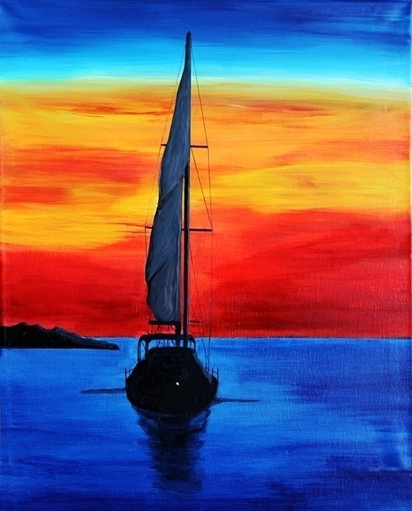 Floating Sunset acrylic canvas  - wheresal | ello