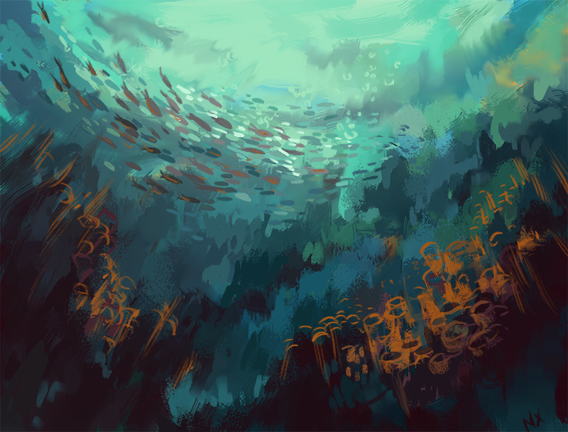 School fish~ - illustration, underwater - nicolexu-8498 | ello
