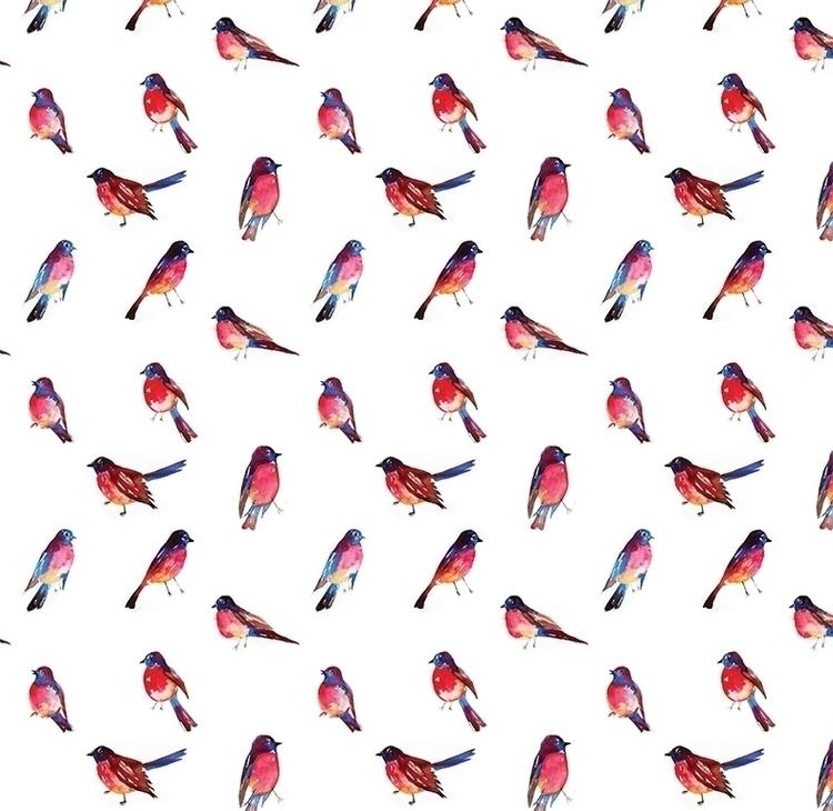 Pattern Watercolor Birds - illustration - nataliya_fedun | ello
