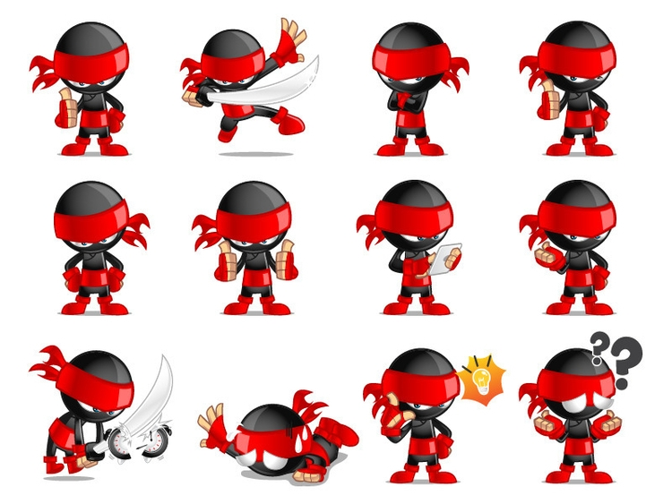 Ninja Sticker Pack - illustration - rockcodile | ello
