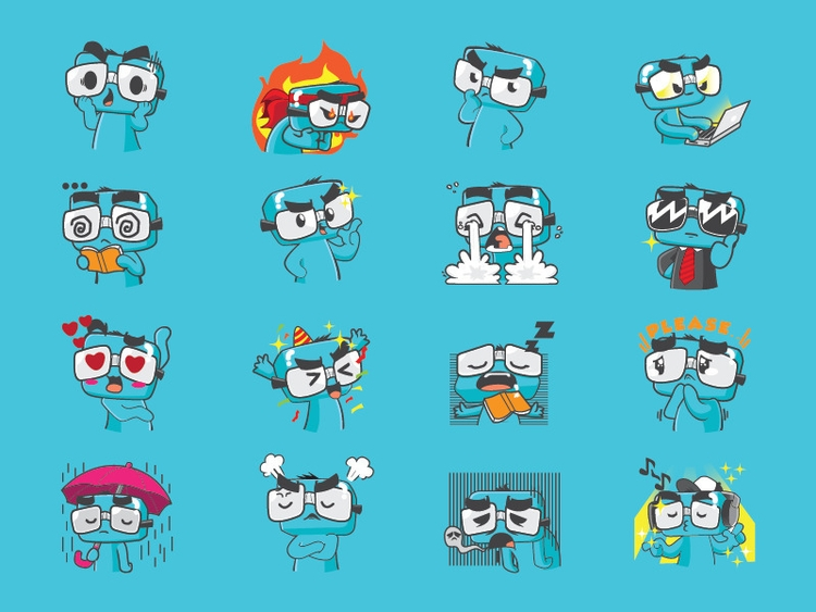 Funny Geek Sticker Pack - illustration - rockcodile | ello