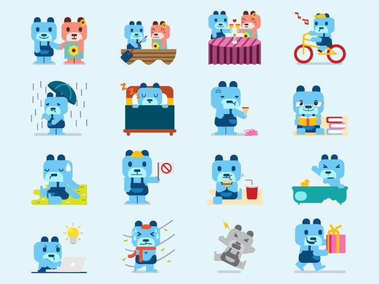 Cute Bear Sticker Pack - illustration - rockcodile | ello