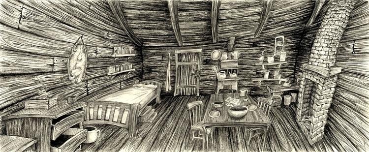 Interior Cabin Sketch, graphite - hotsprocket | ello