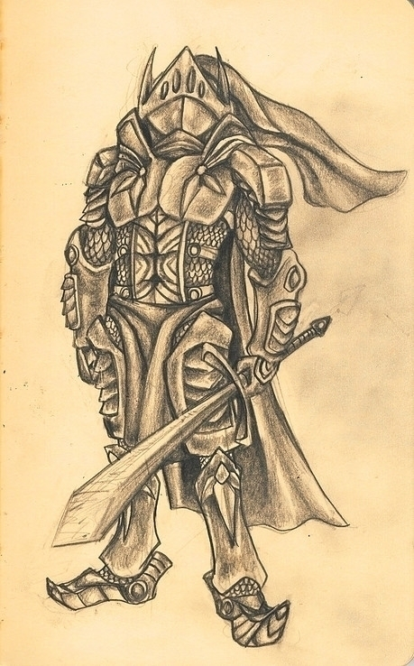 Knight sketch - illustration, drawing - hotsprocket | ello