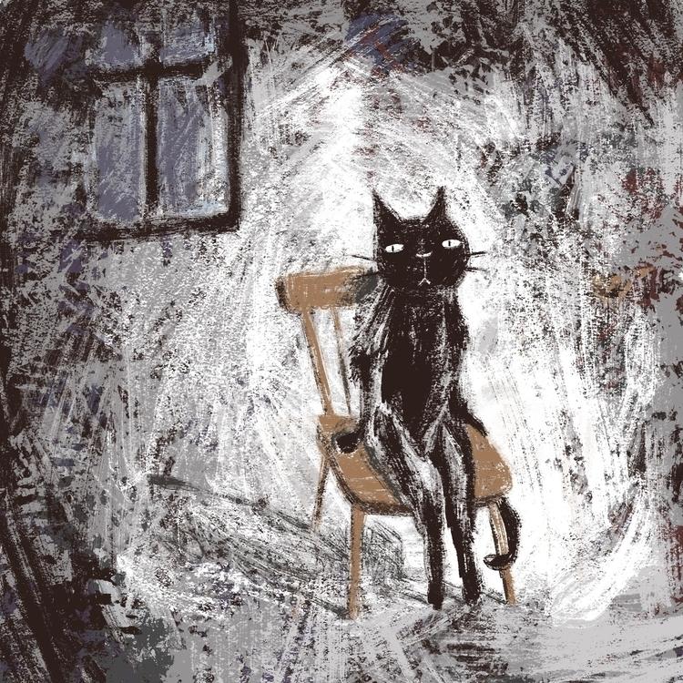 Waiting - cat, digitalart, characterdesign - prianikn   ello