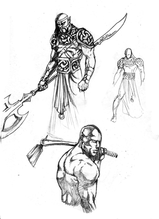 warrior design - conceptart, drawing - woody-2265 | ello