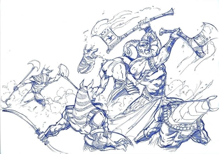 biro sketch - illustration, drawing - woody-2265   ello