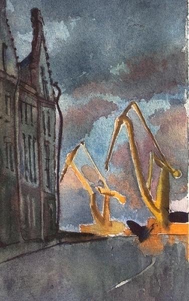 Vyborg, night sketch - painting - naktisart | ello