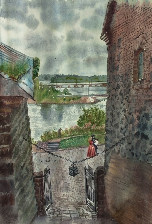 Vyborg castle - watercolor, watercolour - naktisart | ello