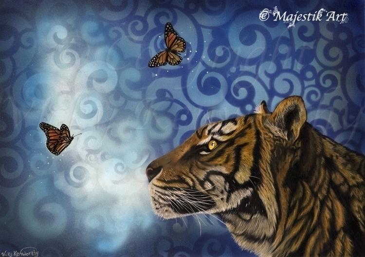 Enchanting - Tiger, Butterfly, colouredpencils - majestikart | ello