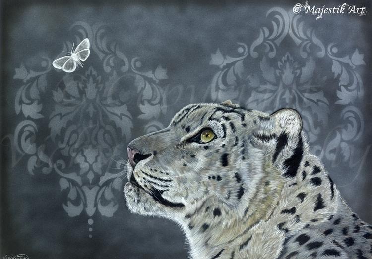 Entice - snowleopard, Moth, colouredpencils - majestikart | ello