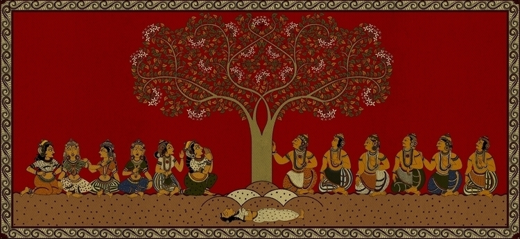 Depiction kalamkari style myth  - amrita-4734 | ello