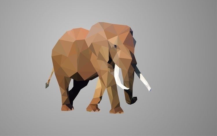 lowpoly, lowpoly, elephant, illustrator - valiente | ello