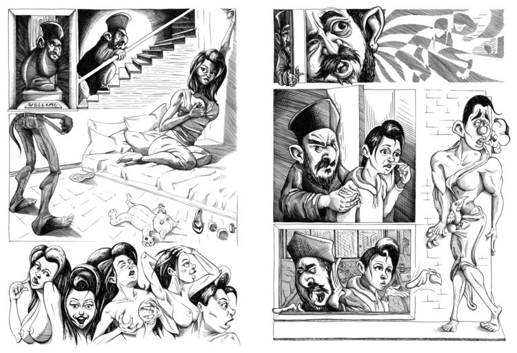 pages 2-3 - comic, bnw, ink, kaiman - kaiman-6057 | ello