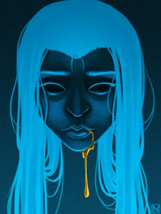 experimental - blue, honey, illustration - mynaria | ello