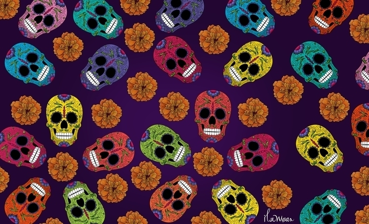 DAY DEAD PATTERN - digitalillustration - ilsemoar | ello