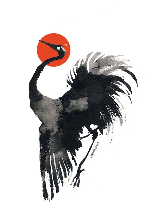 Ink Crane - illustration, ink, commoncrane - myrntai | ello
