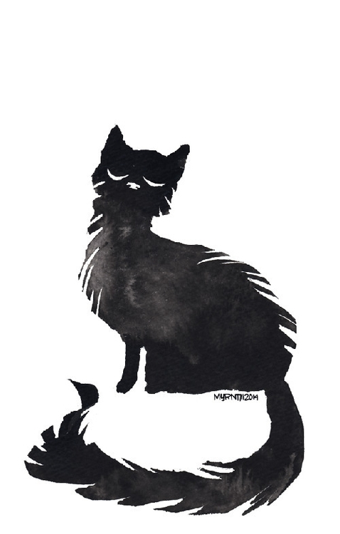 Ink Cat 12 - illustration, ink, cat - myrntai | ello