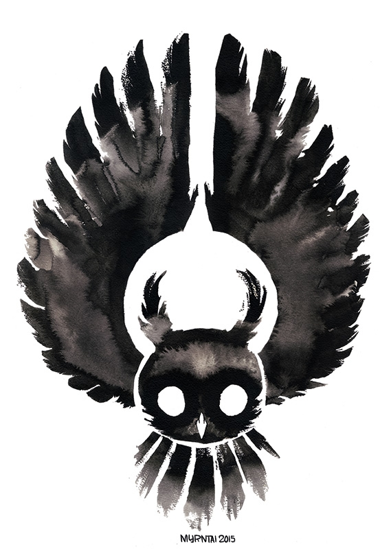 Ink Owl 02 - illustration, ink, owl - myrntai | ello