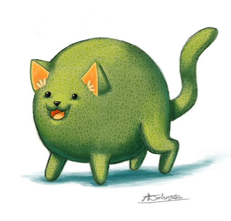 Cat-aloupe - illustration, art, digitalart - alexjohnston | ello