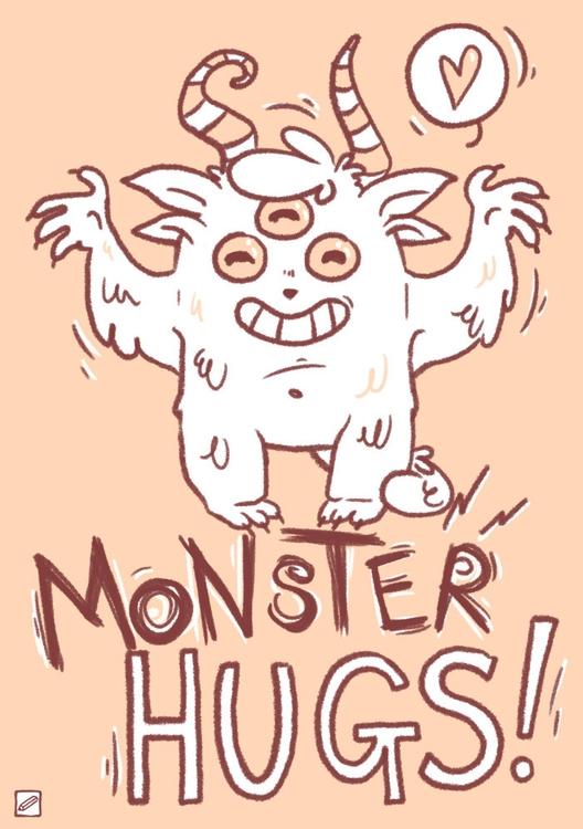Monster hugs - illustration, monster - pencilboxillustration   ello