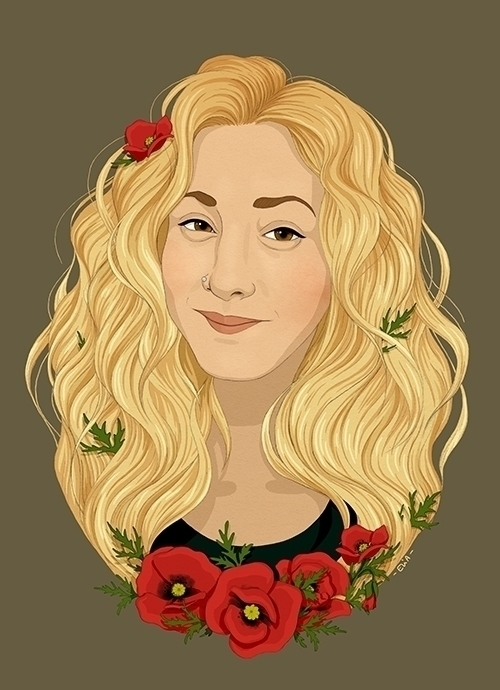 María - illustration, portrait, poppies - elia | ello