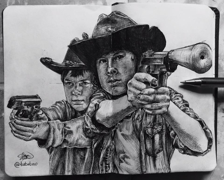 Carl Grimes Walking Dead - illustration - tututmo | ello