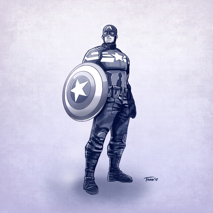 Digital sketch Captain America - tomix93 | ello