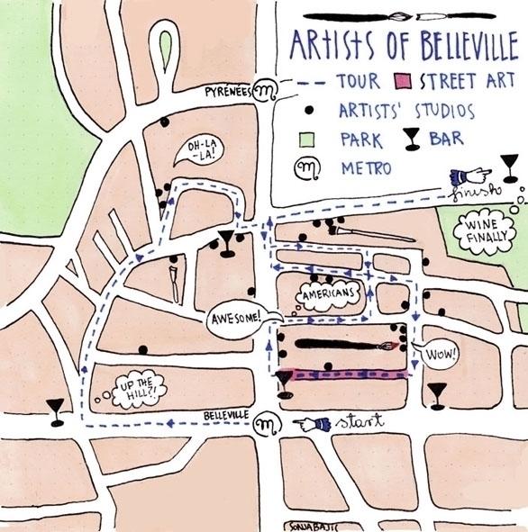 Hand-drawn map Paris - maps, belleville - sonjabajic | ello