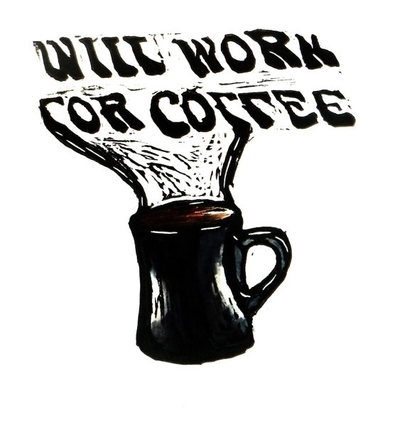 Coffee Break Work - print, linocut - willrainier | ello