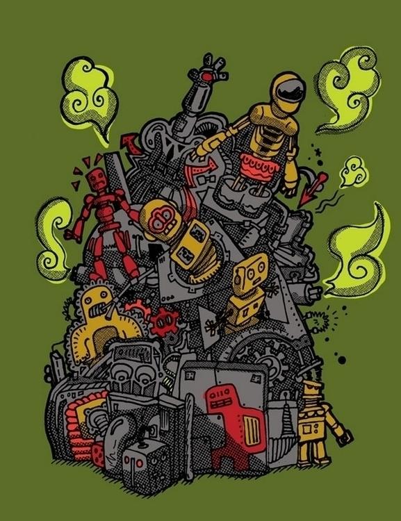 Robot Pile - robot, robots, digitalart - upstartthunder | ello