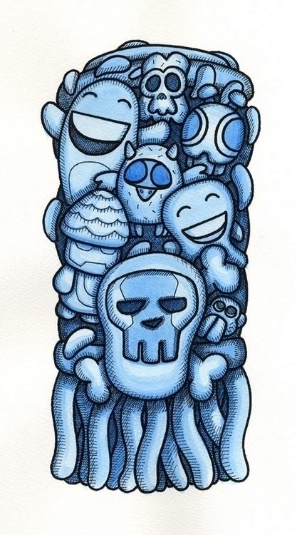 Toe Tum - watercolor, penandink - upstartthunder | ello
